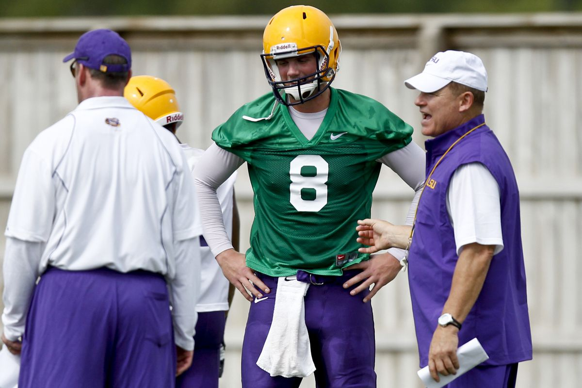 The Hat and the Big. Damn. Hero. LSU's offense will look different in 2012.  Mandatory Credit: Derick E. Hingle-US PRESSWIRE