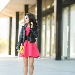 """Wendy of <a href=""""http://www.wendyslookbook.com/2013/10/sweet-surprise-pink-flare-dress-louboutin-spikes/""""target=""""_blank"""">Wendy's Lookbook</a> is wearing a Burberry jacket, an <a href=""""http://us.asos.com/countryid/2/ASOS-Structured-Skater-Dress-in-Bonded-"""