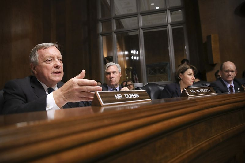 Left to right: Sen. Richard Durbin (D-IL), Sen. Sheldon Whitehouse (D-DE), Sen. Amy Klobuchar (D-MN) and Sen. Chris Coons (D-DE) question Judge Brett Kavanaugh.