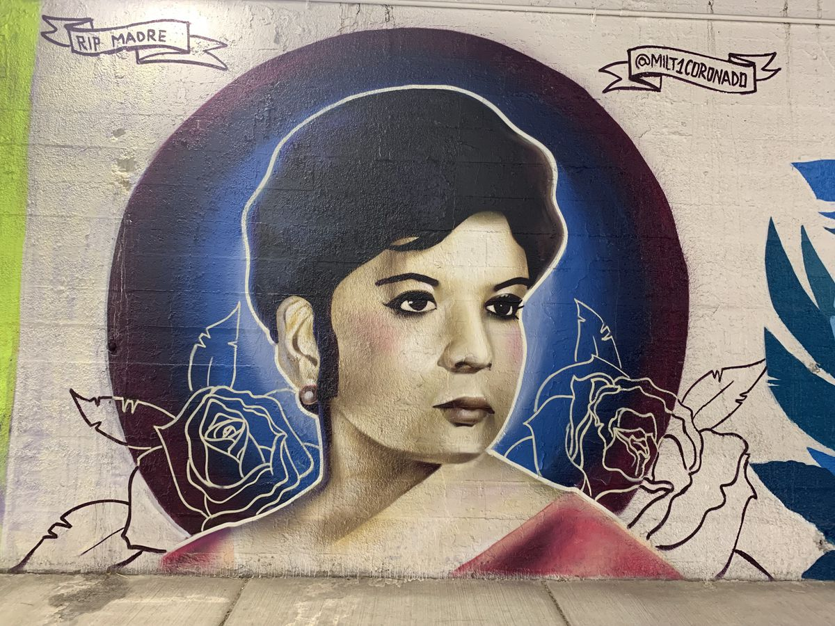 """Clearing artist Milton Coronado created a portrait of his mother, who died of a brain aneurysm in 1985 when he was 5. """"I recently learned, when she immigrated here from Mexico in the 1970s, her first home was a block away from that location on Peoria,"""" Coronado says. """"Makes the mural a lot more special."""""""