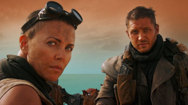 Charlize Theron and Tom Brady in a scene from the movie Mad Max: Fury Road