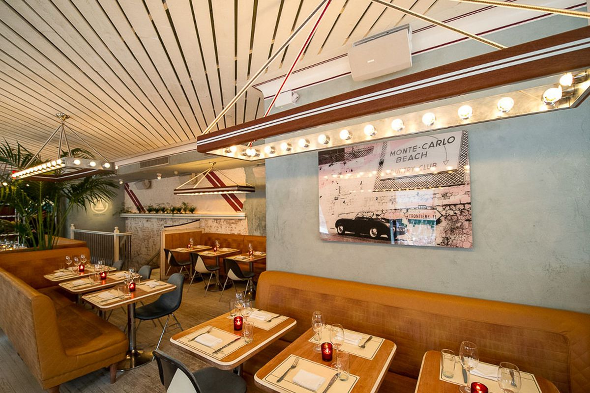 """<a href=""""http://ny.eater.com/archives/2014/03/chicane_a_sunny_french_bistro_in_soho.php"""">Chicane, NYC</a>."""