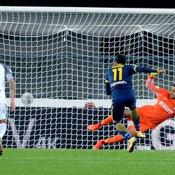Gianpaolo Pazzini (L) of Hellas Verona FC scores his team's first goal from the penalty spot during the Serie A match between Hellas Verona FC and FC Internazionale at Stadio Marc'Antonio Bentegodi on October 30, 2017 in Verona, Italy.