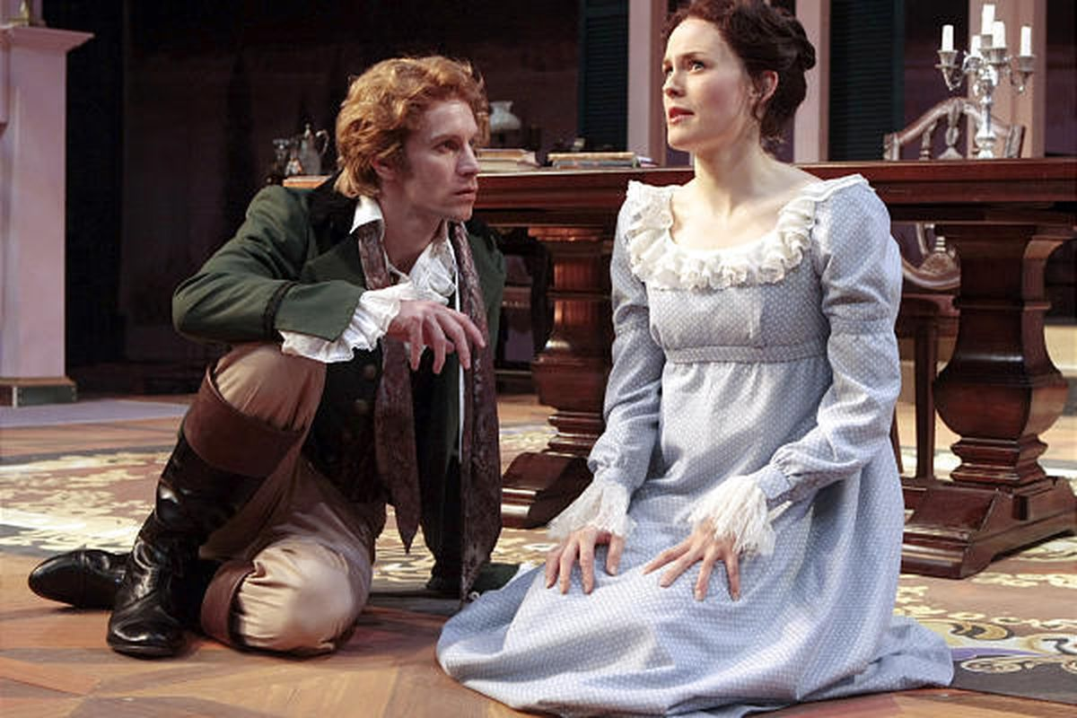 """Christopher Kelly as Percy Shelley and Ellen Adair as Mary Shelley in """"The Yellow Leaf."""""""