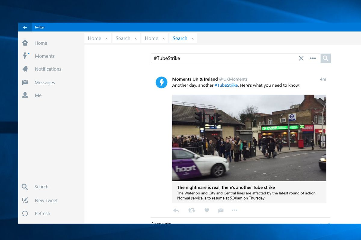 Twitter's new tabs feature makes its Windows 10 app more like