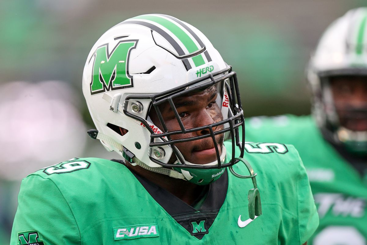 Marshall Thundering Herd defensive lineman Immanuel Bush during pregame warm ups prior to the college football game between the Florida Atlantic Owls and the Marshall Thundering Herd on October 24, 2020, at Joan C. Edwards Stadium in Huntington, WV.