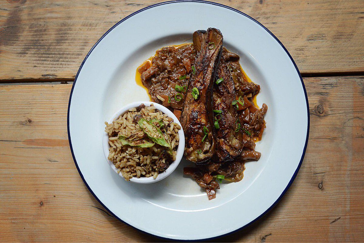 Brown aubergine stew at Deptford vegan Jamaican restaurant Buster Mantis, one of the best restaurants in Deptford, south east London
