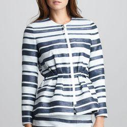 "<b>3.1 Phillip Lim</b> Space-Dye Striped Suit Jacket, <a href=""http://www.neimanmarcus.com/p/31-Phillip-Lim-Space-Dye-Striped-Suit-Two-Pocket-Silk-Blouse/prod154310022/?ecid=NMCIGoogleProductAds&ci_sku=prod151510110skuSAFFRON&ci_gpa=pla"">$650</a> at Neima"