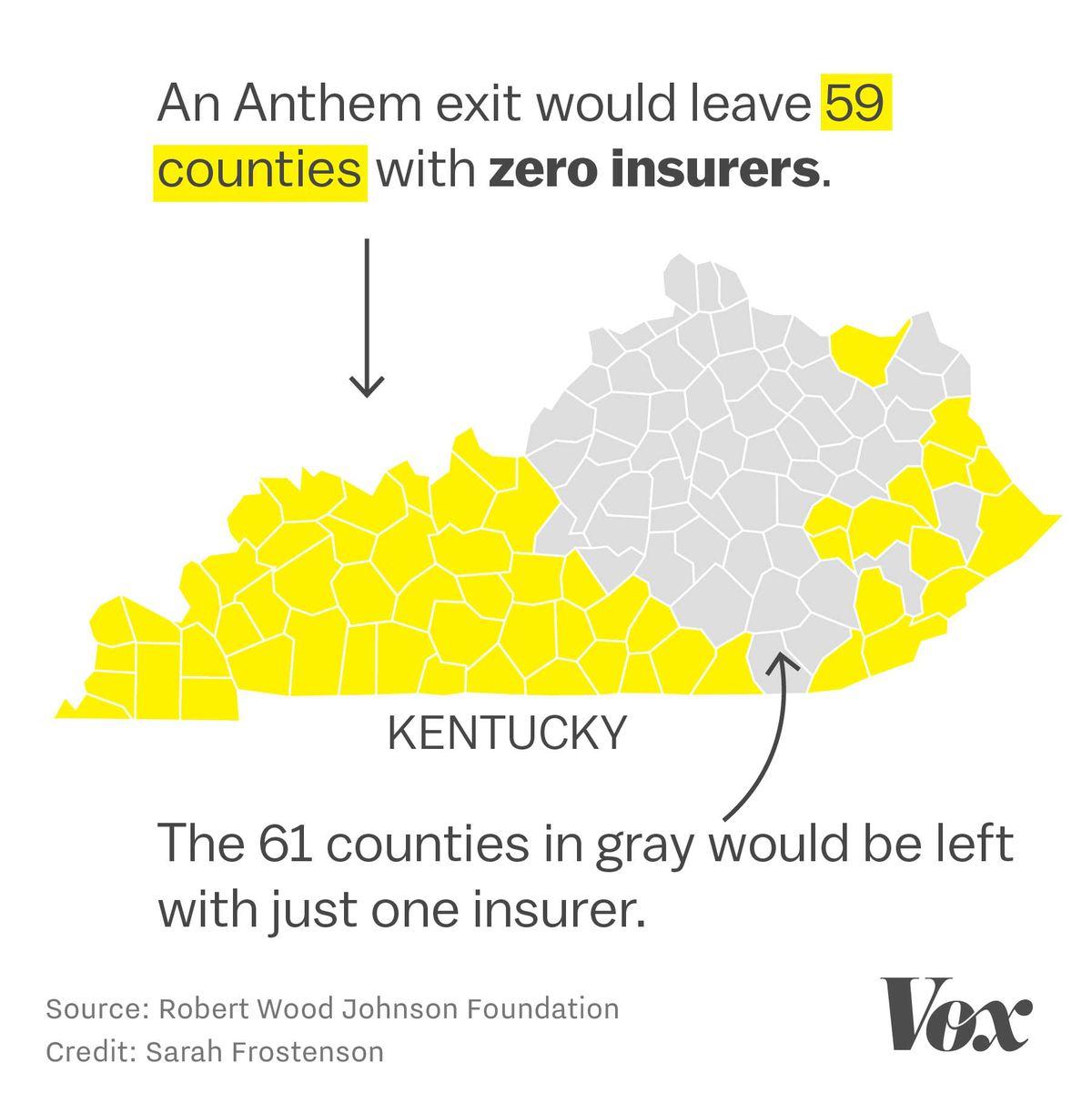Map of Anthem's footprint in Kentucky