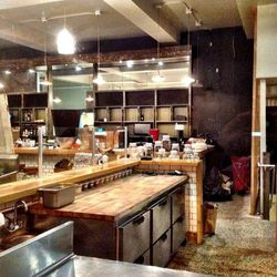A view from the open kitchen towards the future bar