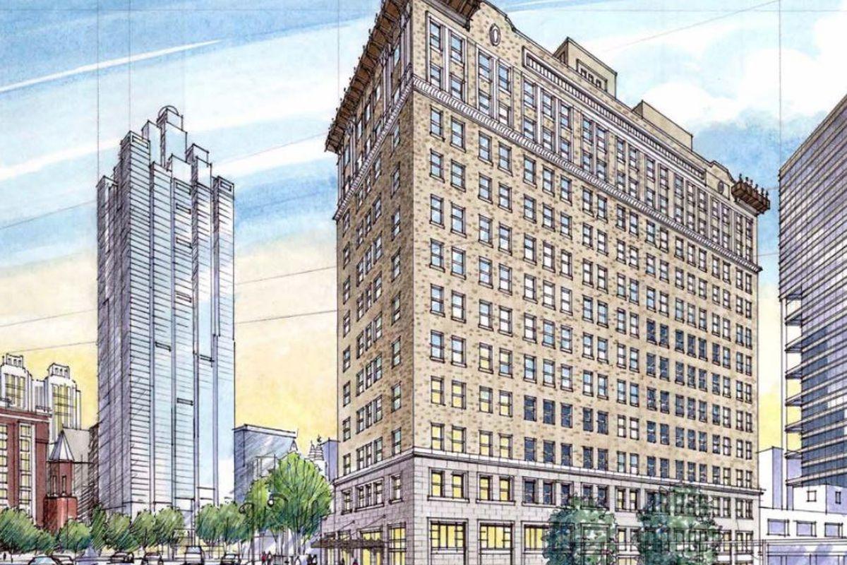 A rendering of the Medical Arts Building in Atlanta. The facade is brown brick.