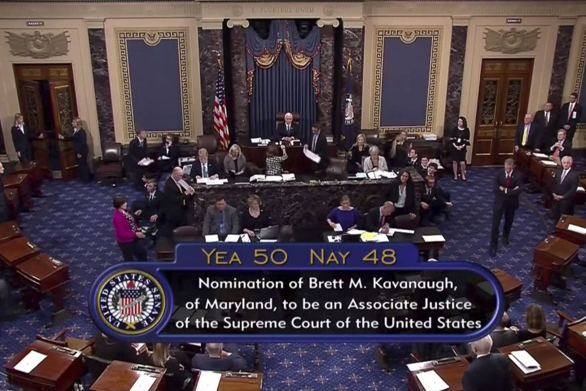 Vice President Mike Pence announces the result of the vote for the confirmation of Brett Kavanaugh to the Supreme Court in Washington. The bitterly polarized U.S. Senate narrowly confirmed Brett Kavanaugh on Saturday to join the Supreme Court, delivering
