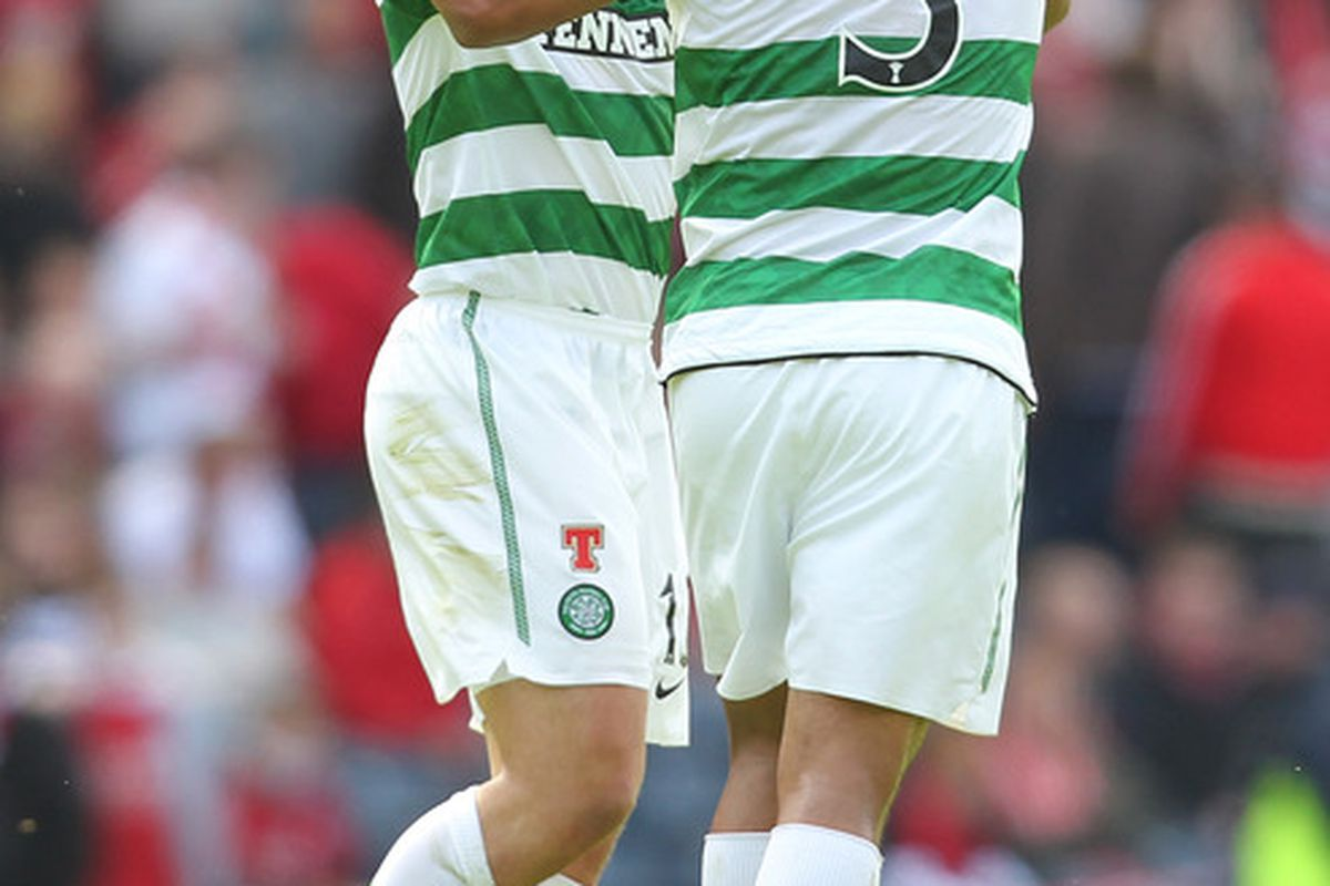 Shaun Maloney of Celtic celebrates his goal with Emilio Izaguirre during the Scottish Cup semi-final between Aberdeen and Celtic at Hampden Park.