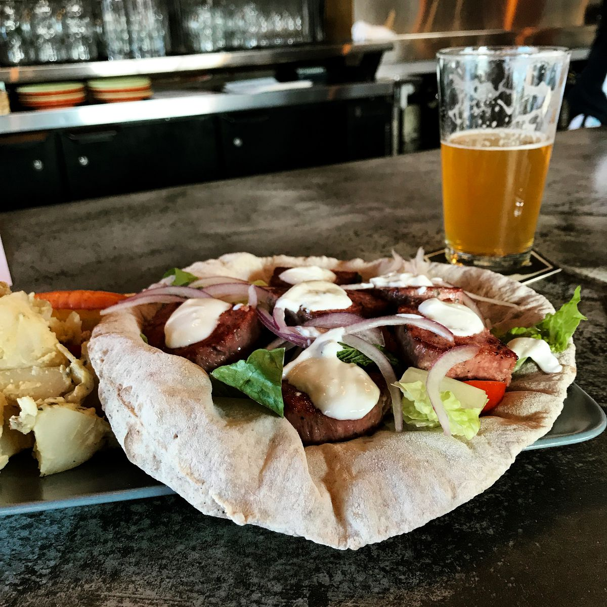 A lamb gyro at Brewer's Fork in Charlestown