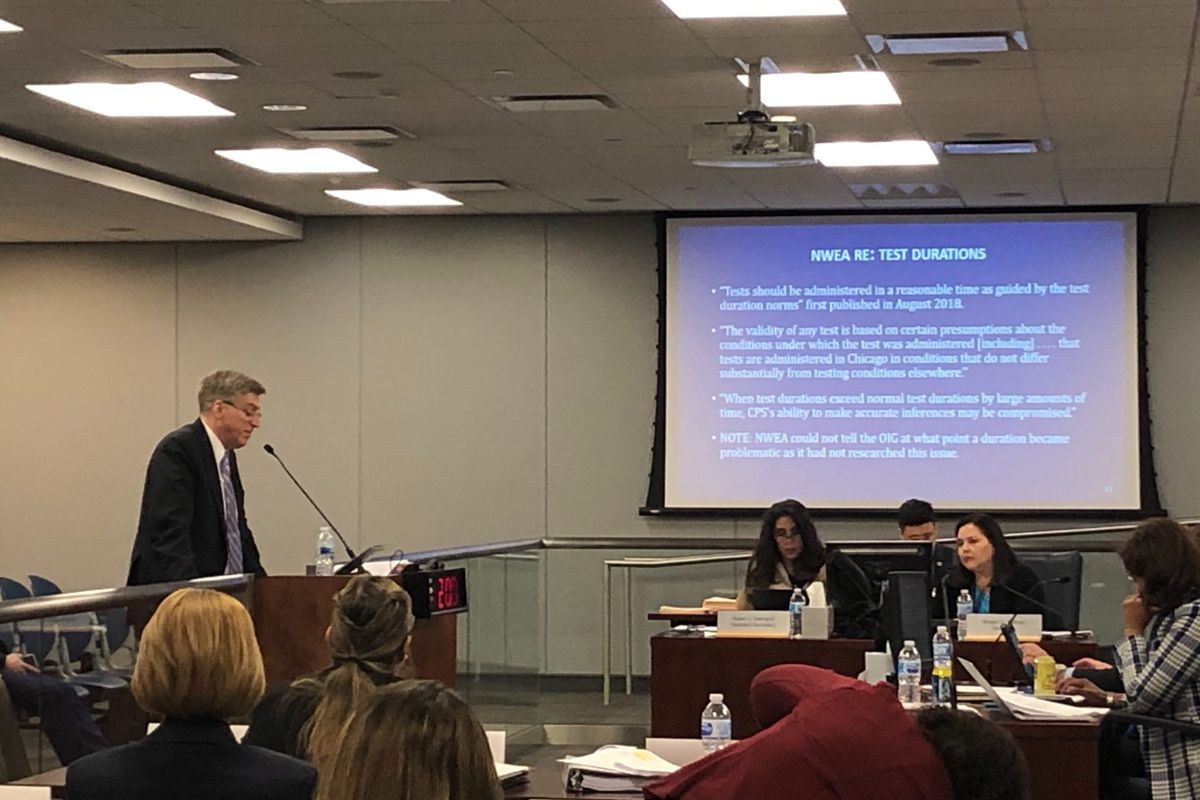 Outgoing Chicago Schools Inspector General Nicholas Schuler speaks about his report on NWEA testing discrepancies at the February 2020 board of education meeting.