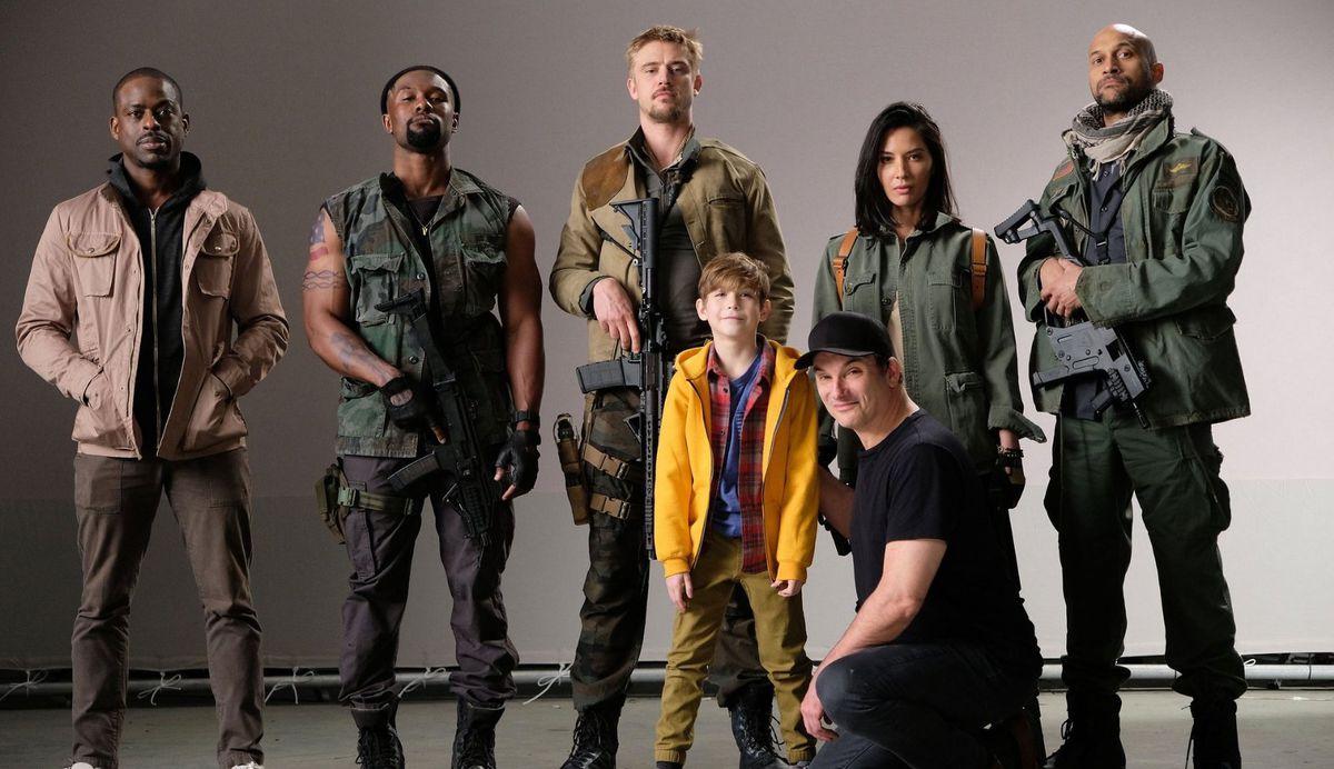 Predator director Shane Black with the movie's cast: Keegan-Michael Key,Sterling K. Brown,Olivia Munn,Boyd Holbrook,Jacob Tremblay, andTrevante Rhodes