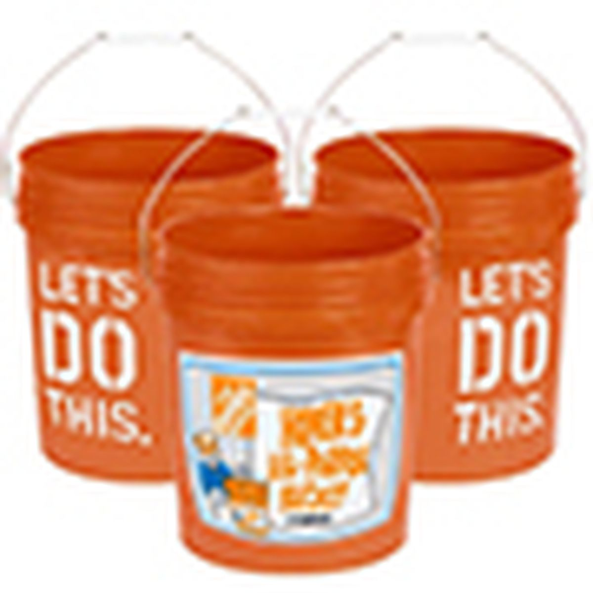 three orange five-gallon buckets