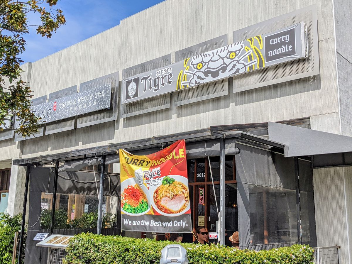 Menya Tigre's exterior with signage in Sawtelle Japantown.