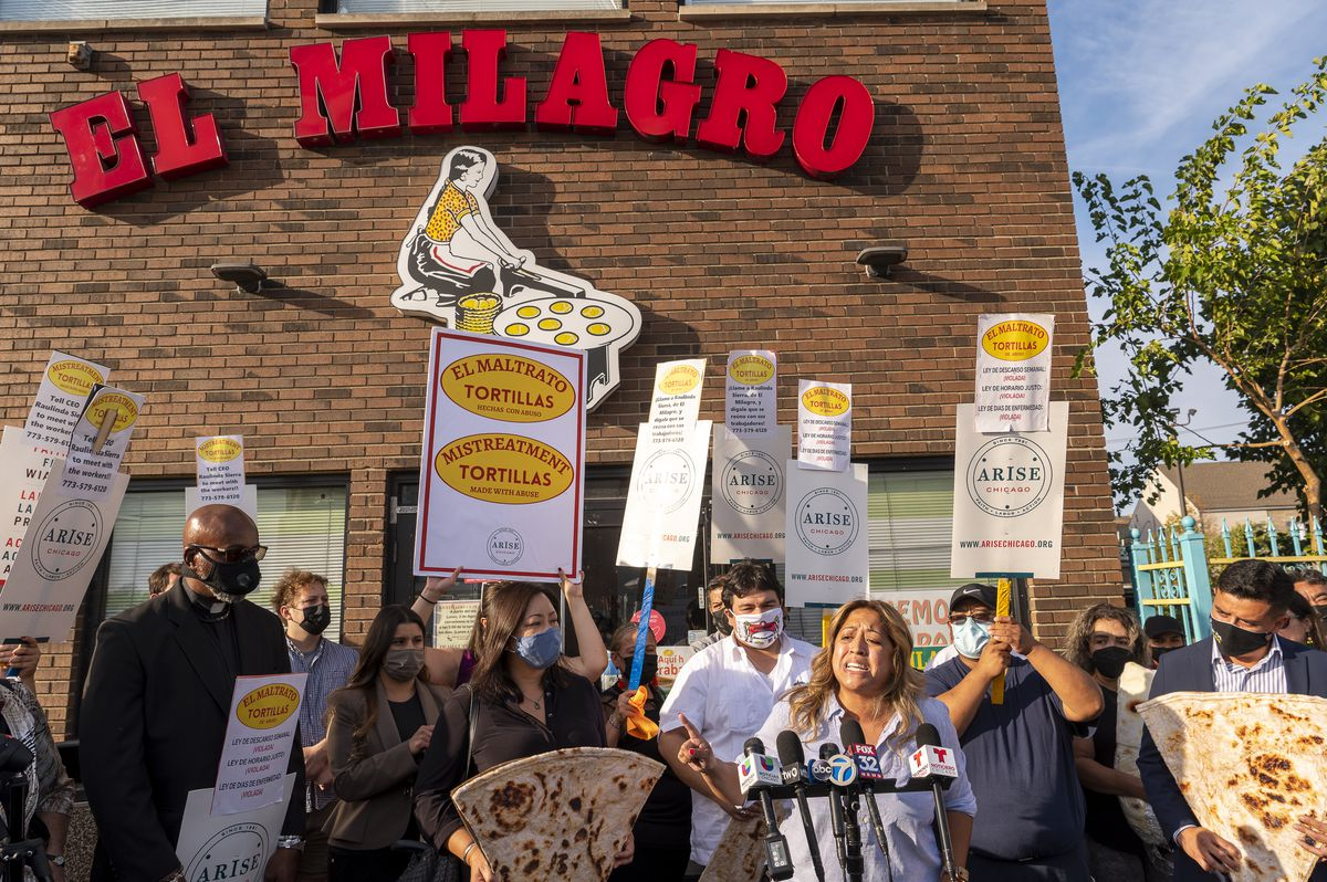 State Senator Celina Villanueva of the 11th District speaks to reporters during a press conference outside El Milagro's headquarters located at 3048 W. 26th Street.