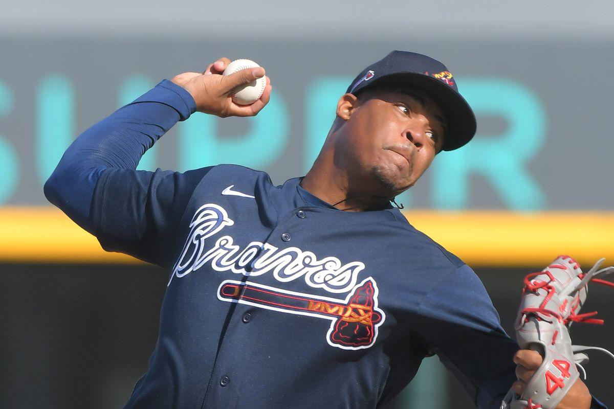 Detroit Tigers v Atlanta Braves - Jasseel De La Cruz delivers a pitch