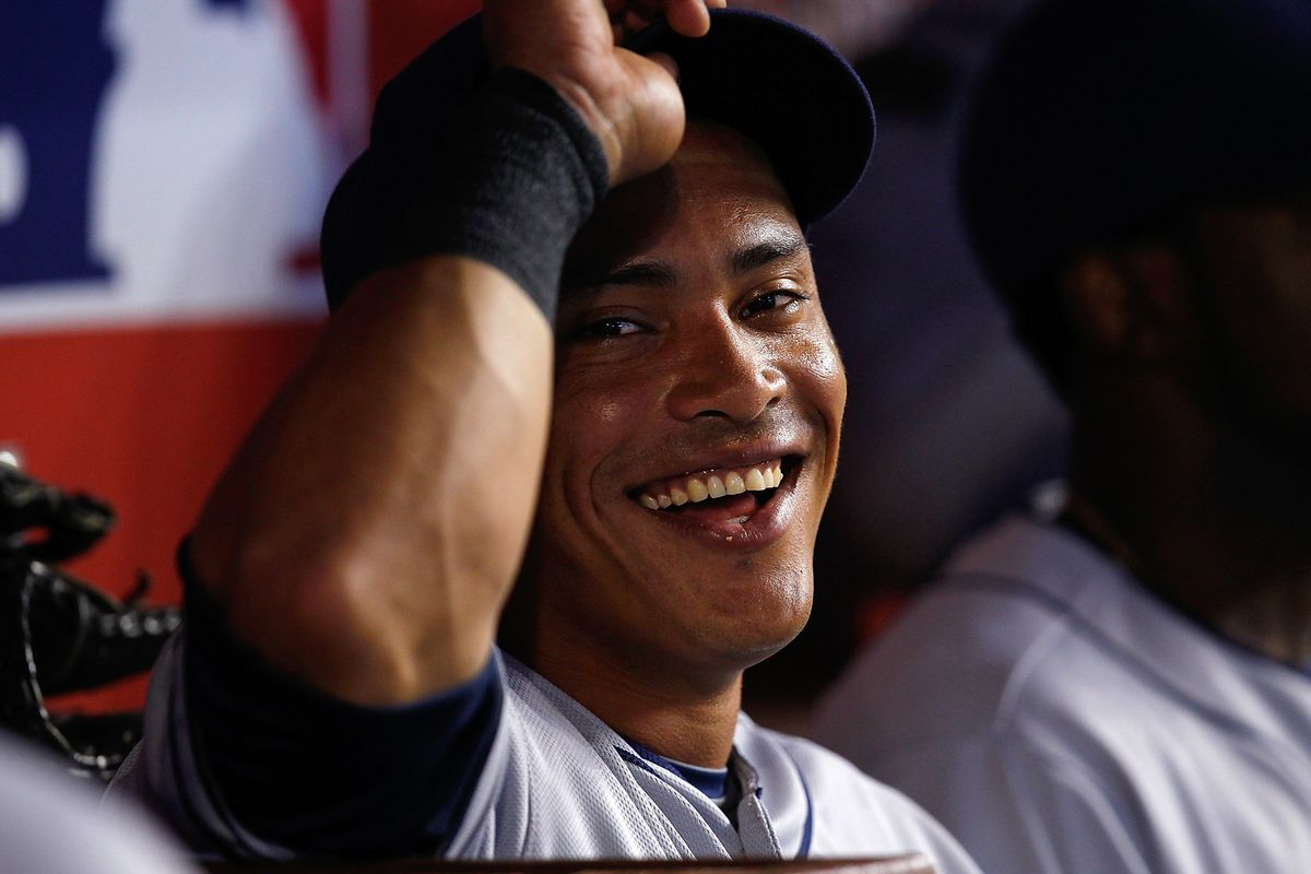 MIAMI, FL - JULY 29: Everth Cabrera #2 of the San Diego Padres smiles during a game against the Miami Marlins at Marlins Park on July 29, 2012 in Miami, Florida. The Miami Marlins defeated the San Diego Padres 5-4. (Photo by Sarah Glenn/Getty Images)