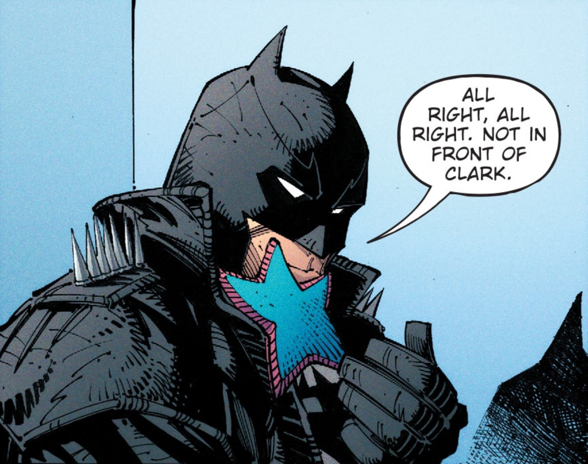 """Batman receives a tiny hug from Jarro, the psychic starfish. """"All right, all right,"""" he says, """"Not in front of Clark,"""" in Dark Nights: Death Metal #3, DC Comics (2020)."""
