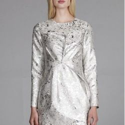 """<a href=""""http://www.thelineanddot.com/RetailShop/Display_Product_Detail.aspx?Cat1ID=615&Cat1Name=&ProductID=192063&StyleNo=LD3231D"""">Silver marble brocade dress</a>, $159 <br></br> <b>Line & Dot:</b> A great source of sparkle and quirk for under $160."""