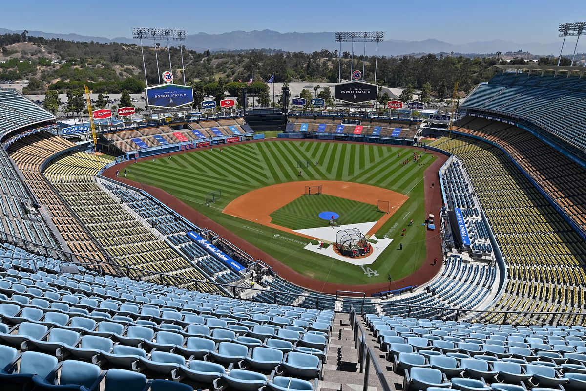 General view of Dodger Stadium before the game between the Los Angeles Dodgers and the Cincinnati Reds.