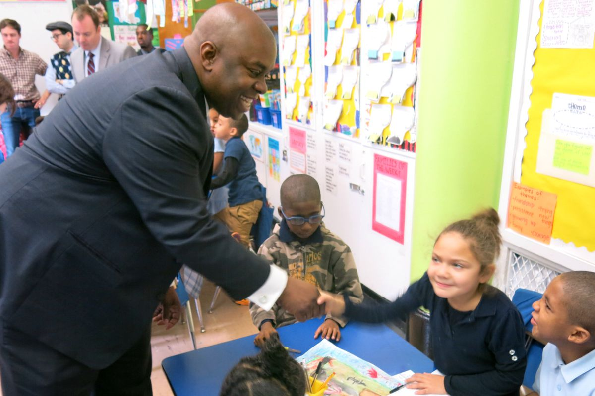 Deputy Mayor Richard Buery, pictured during a school visit in 2014, announced this week that he is leaving his post.