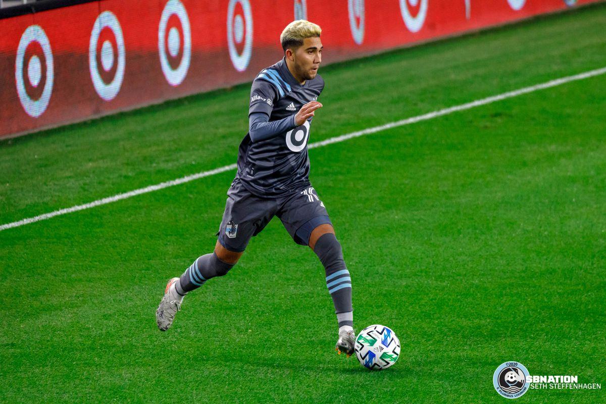October 28, 2020 - Saint Paul, Minnesota, United States - Minnesota United midfielder Emanuel Reynoso (10) dribbles the ball during the match against Colorado Rapids at Allianz Field.