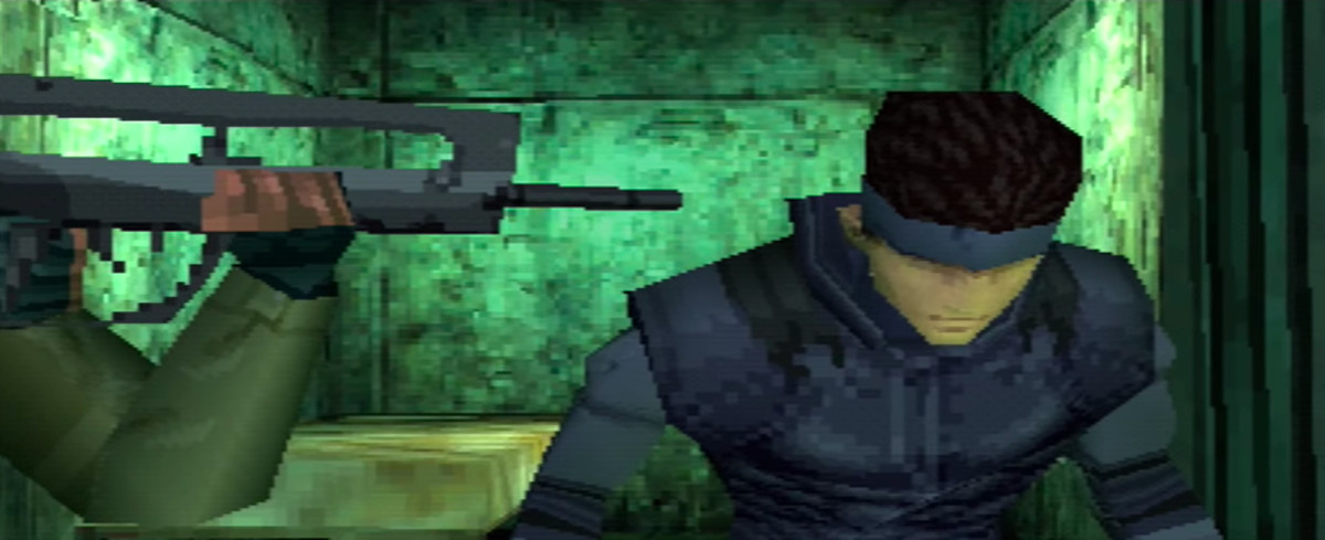 a soldier aiming a gun at Solid Snake