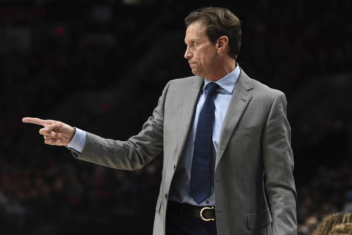 Utah Jazz head coach Quin Snyder directs his team during the first half of an NBA basketball game against the Portland Trail Blazers in Portland, Ore., Sunday, Oct. 7, 2018. (AP Photo/Steve Dykes)
