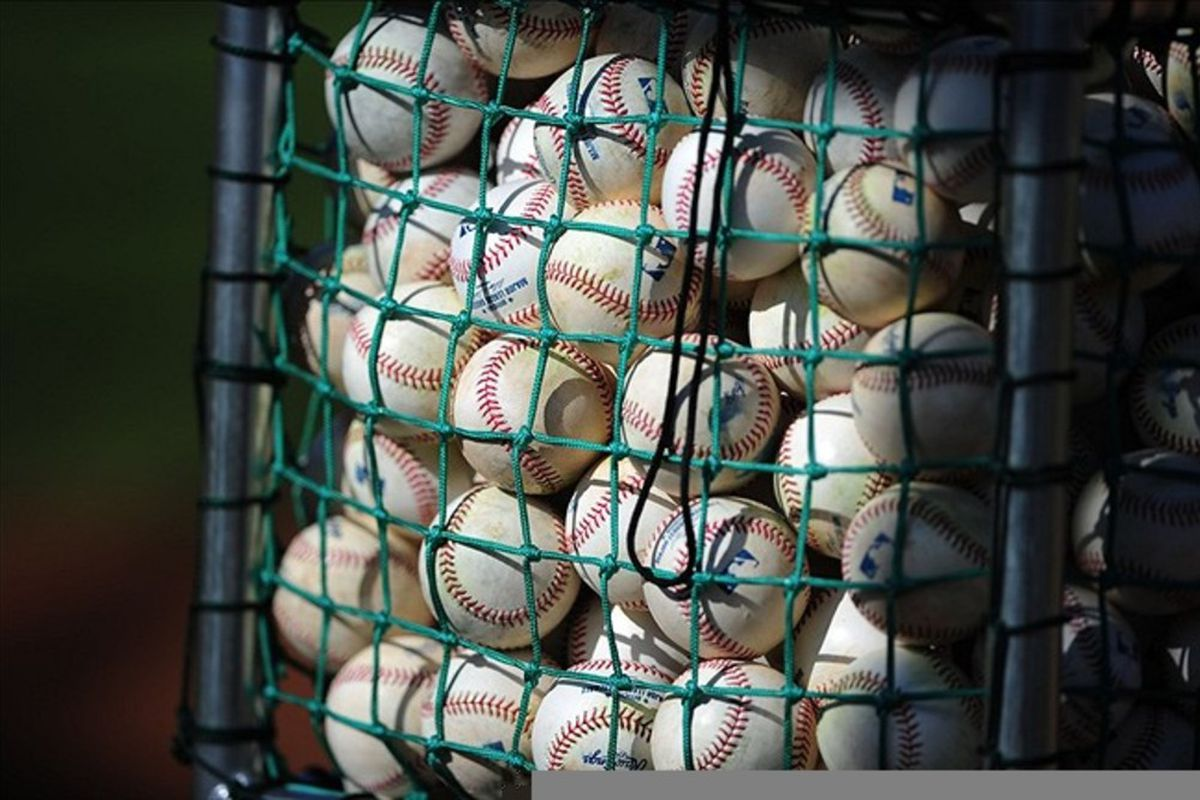 Detailed view of official baseballs used for batting practice during Chicago Cubs spring training workouts at Fitch Park. Credit: Mark J. Rebilas-US PRESSWIRE