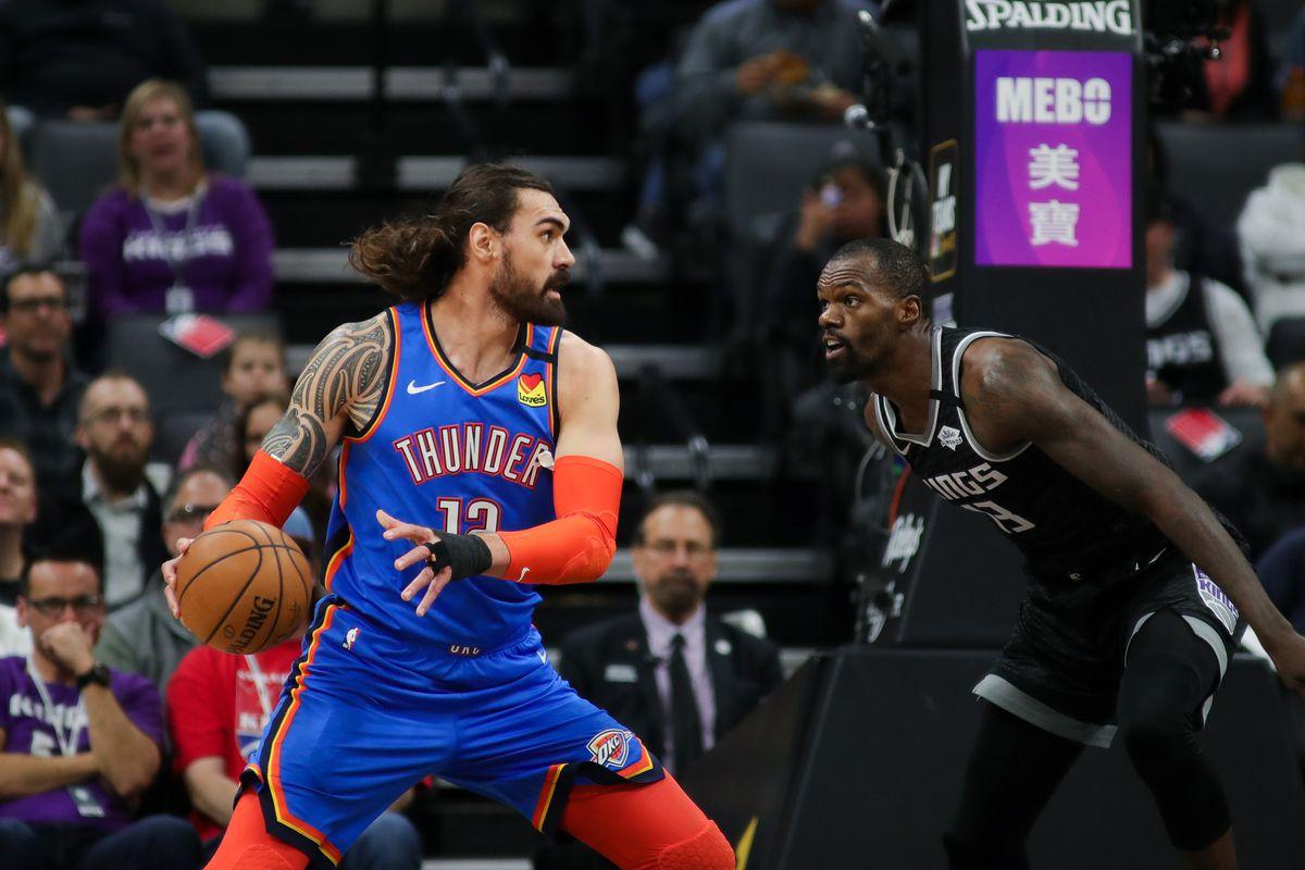 Oklahoma City Thunder center Steven Adams grabs a rebound against Sacramento Kings center Dewayne Dedmon during the first quarter at Golden 1 Center.