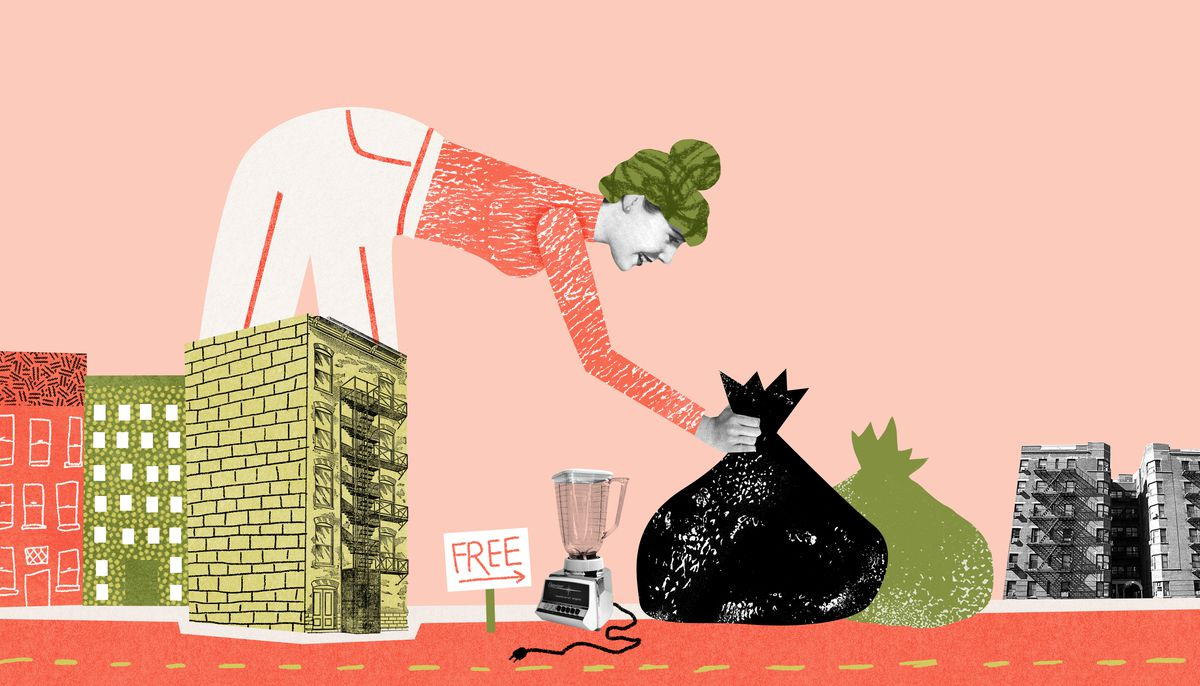 A larger-than-life woman stands behind a hand drawn cluster of brick city buildings. She's depositing a black plastic bag into a pile of free items. Illustration.