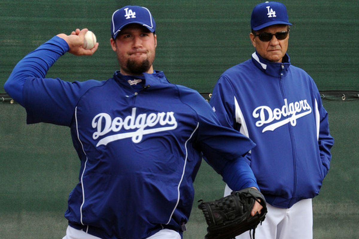 """Eric Gagne has not looked good so far this spring (Photo by Jon SooHoo / <a href=""""http://twitpic.com/14ruem"""" target=""""new"""">LA Dodgers</a>)"""
