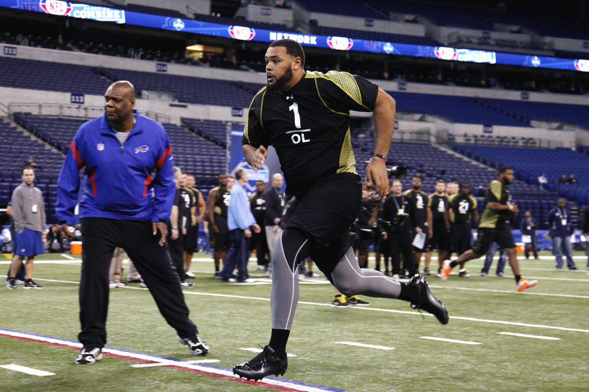 INDIANAPOLIS, IN - FEBRUARY 25: Offensive lineman Mike Adams of Ohio State participates in a drill during the 2012 NFL Combine at Lucas Oil Stadium on February 25, 2012 in Indianapolis, Indiana. (Photo by Joe Robbins/Getty Images)