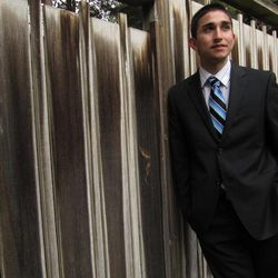 In this April 6, 2012 photo, Pablo Gonzalez poses for a photograph at Central Washington University in Ellensburg, Wash. Gonzalez, a 21-year-old college student, is running for the state Legislature in a newly-created Eastern Washington district where Latinos comprise a majority of constituents.