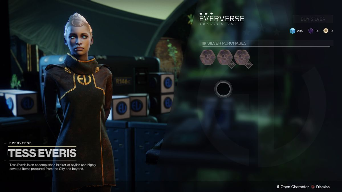 Tess Everis of the Eververse Trading Company stands beside her wares.