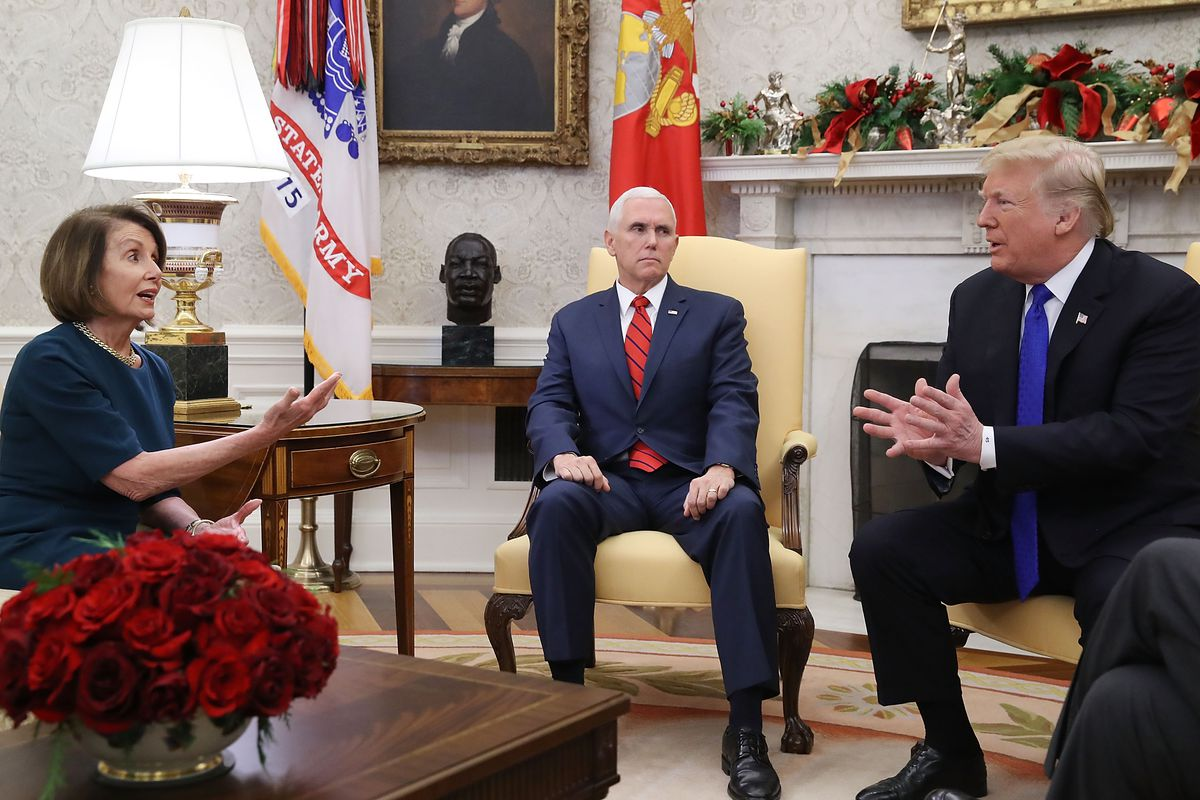 President Trump and Vice President Mike Pence meet with Nancy Pelosi at the White House.