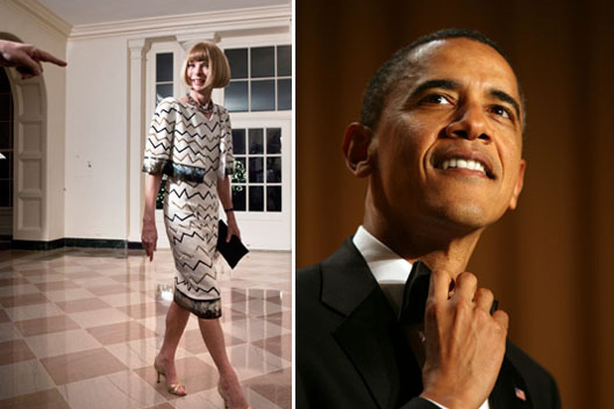 Wintour and the President at the White House (on separate occasions) via Getty
