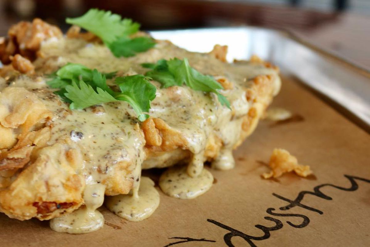 The chicken fried chicken with queso from Industry