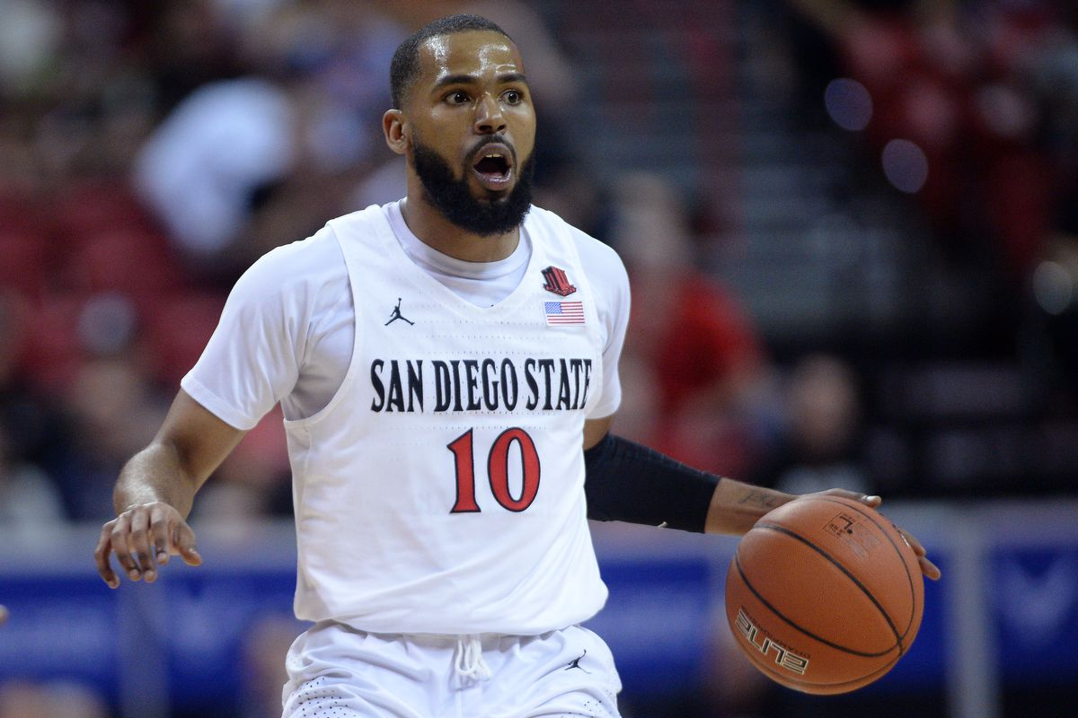 San Diego State Aztecs guard KJ Feagin gestures as he dribbles against the Boise State Broncos during the first half of a Mountain West Conference tournament game at Thomas and Mack Center.