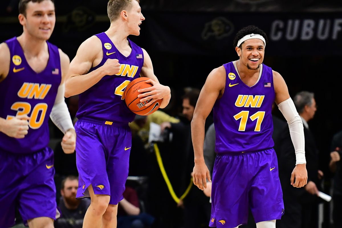 Northern Iowa Panthers guard Trae Berhow celebrates defeating the Colorado Buffaloes at the CU Events Center.