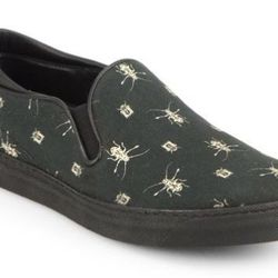 "<b>McQ Alexander McQueen</b> Insect-Print Canvas Slip-On Sneakers, <a href=""http://www.saksfifthavenue.com/main/ProductDetail.jsp?FOLDER%3C%3Efolder_id=2534374306561744&PRODUCT%3C%3Eprd_id=845524446598740&R=886463097463&P_name=McQ+Alexander+McQueen&N=3065"
