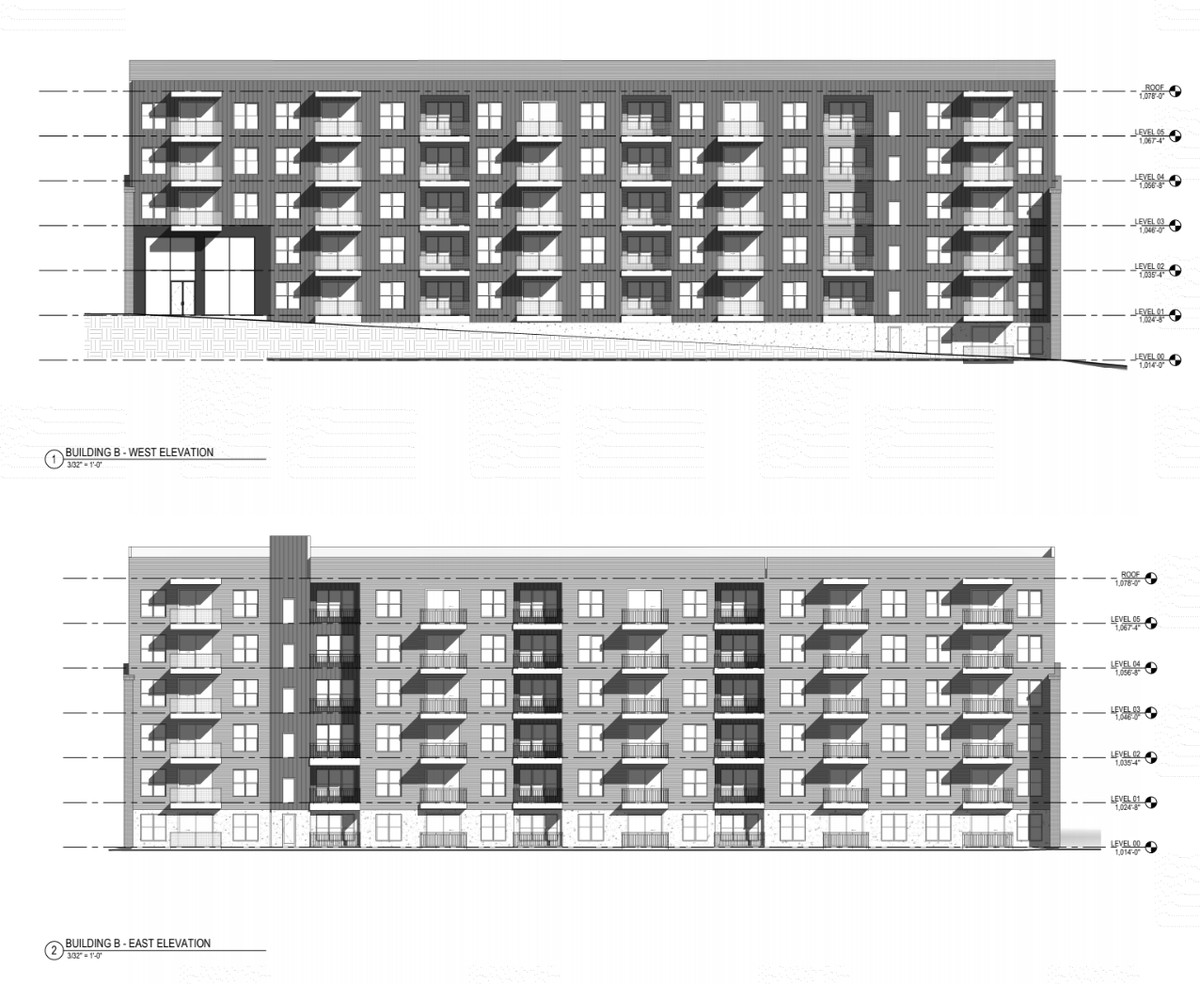 An architectural elevation shows a five story apartment building with square windows and private balconies.