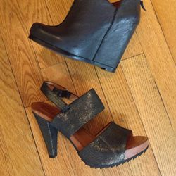 Luxury Rebel wedge booties and Bacio61 metallic heels: retail $145 and $155, reduced to $75 for the sale
