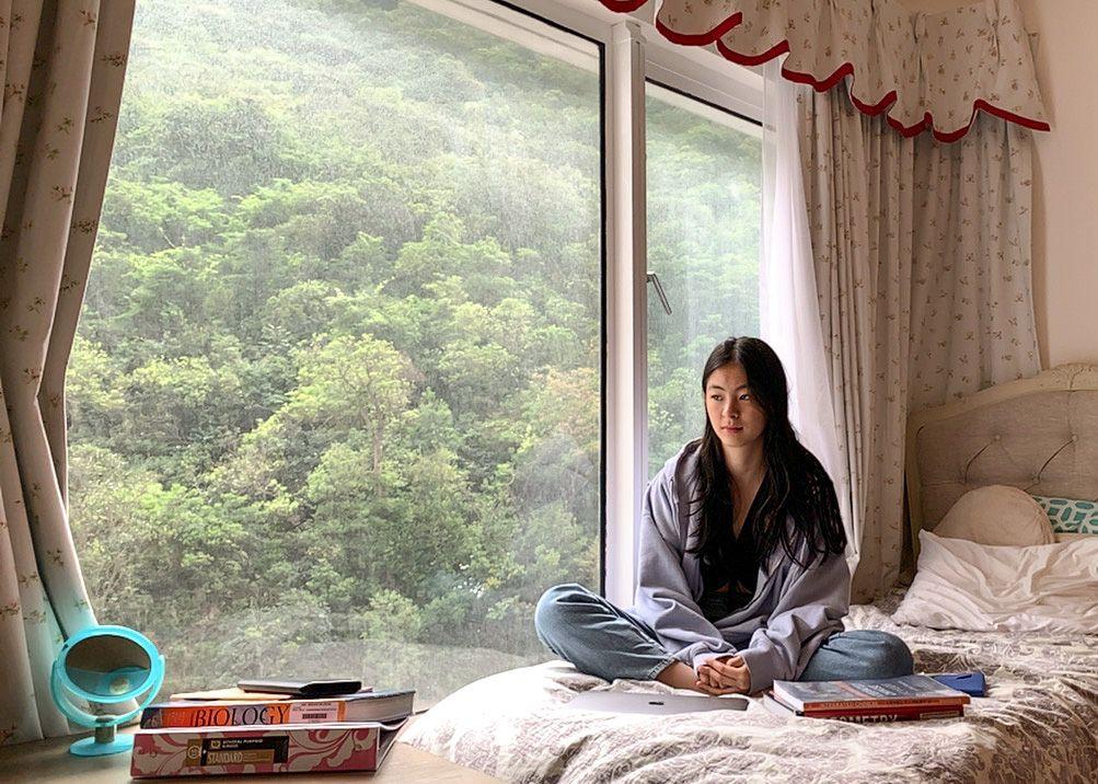 Erika Hornmark, 14, a student at the Hong Kong International School, on April 30, 2020.