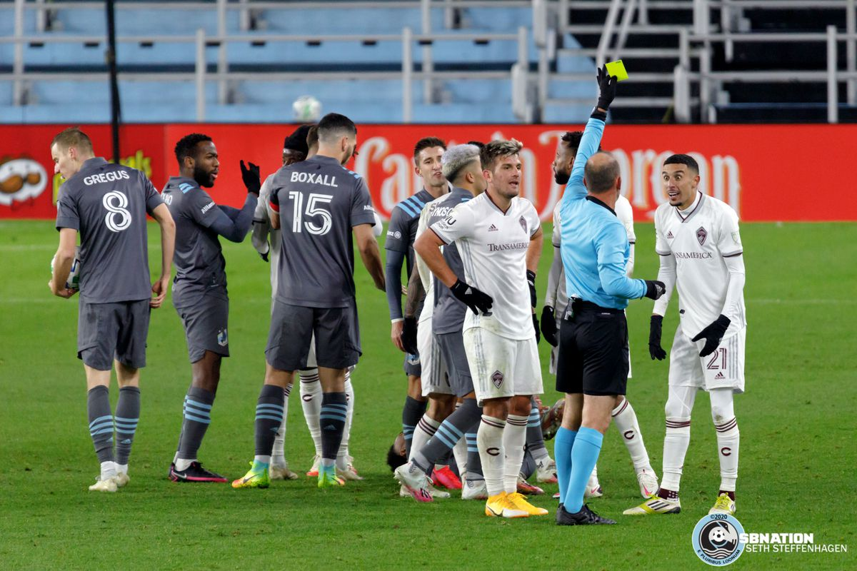November 22, 2020 - Saint Paul, Minnesota, United States - Colorado Rapids midfielder Younes Namli (21) is issued a yellow card during the first round playoff match against Minnesota United at Allianz Field.