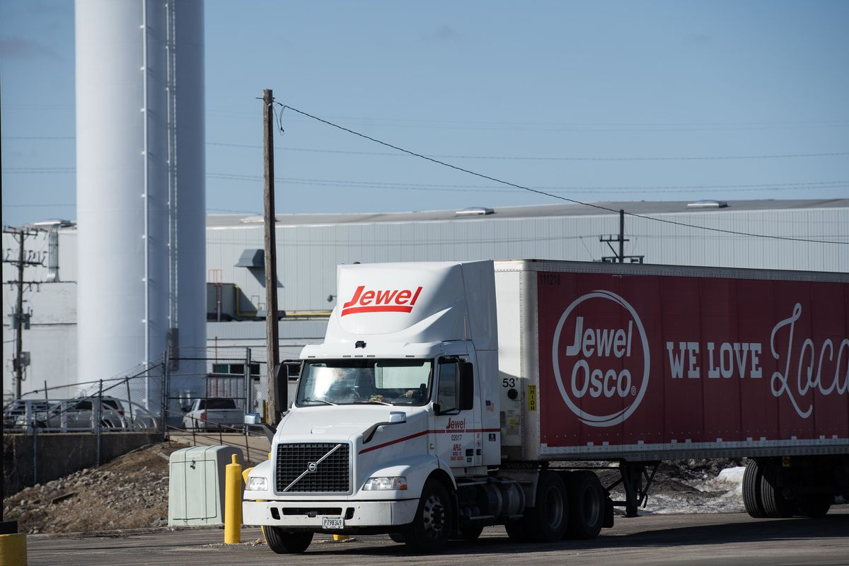 A Jewel Osco truck is parked near the company's distribution center in Melrose Park on Thursday, March 4, 2021.